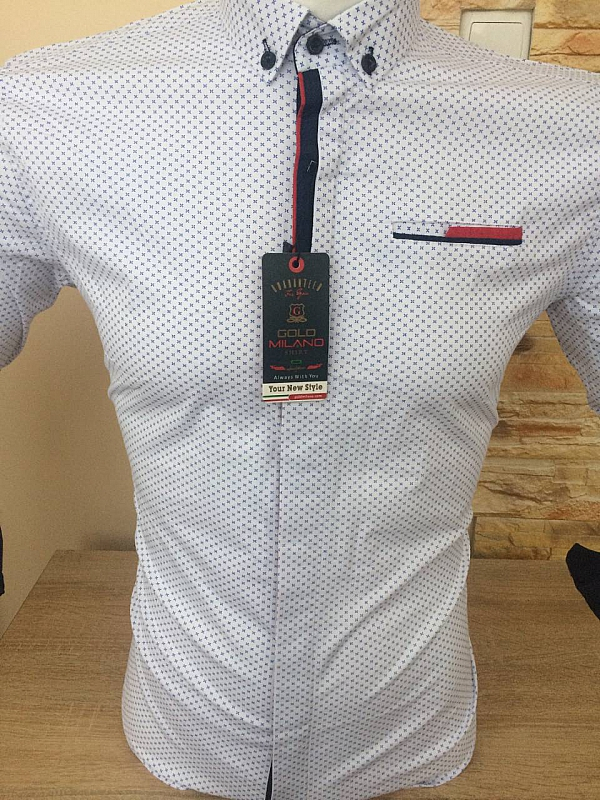 Shirt¸ Gold Milano¸ long sleeve¸ with print¸ fitted¸ buttons¸ pocket  blende|white-with-print-rabitsa