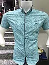 Shirt, Paul Jack, short sleeve, fitted, with a print, three buttons, buttons on the collar
