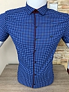 Shirt batal, Paul Smith, short sleeve, fitted, caged, three buttons, pocket blend