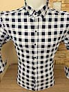 Shirt, Alberto Maldini, sleeve transformer, fitted, caged, buttons on the collar