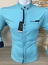 Shirt, Gold Milano, long sleeve, with print, fitted, buttons, snag pocket, with a placket